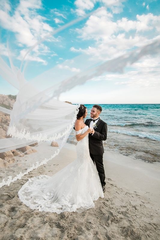 Bride and Groom on the beaches of cyprus